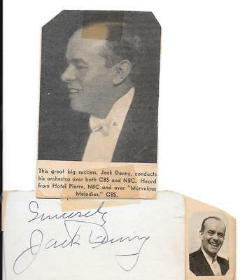 Rare! Jack Denny Autographed Page With Magazine Picture Attached. Bandleader.