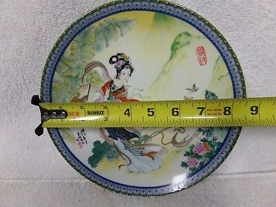 Oriental Chinese goddess plate painted ceramic porcelain 1985