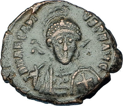 ARCADIUS with CROSS Original 401AD Antioch Authentic Ancient Roman Coin i65849