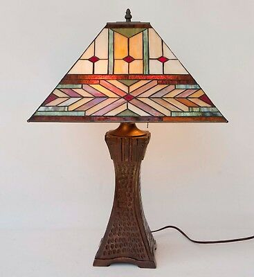 LARGE Table Lamp Tiffany Style Stained Glass Mission Bronze Metal Square Base