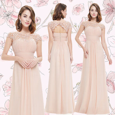 Ever-Pretty Evening Blush Dresses Long Lace Formal Bridesmaid Ball Gown 09993