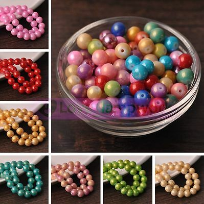 4mm 6mm 8mm 10mm Coated Color Round Glass Loose Spacer Beads Lot Jewelry Making