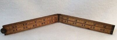 "Vintage Stanley No. 68 Folding Ruler 24"" Boxwood, Made in U.S.A."