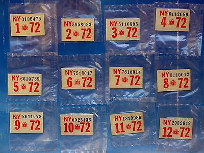 ONE 1972 New York License Plate Registration Year Sticker Pick Month Sealed NOS