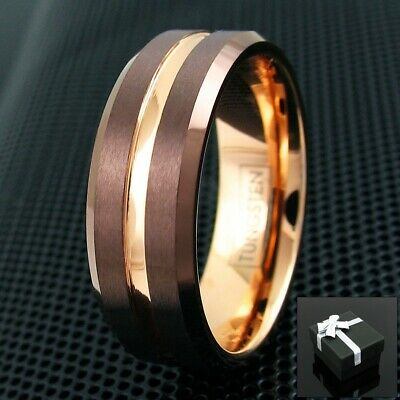 6/8mm Bronze Tungsten Men's Ring Rose Gold Groove Stripe & Inside Wedding Band