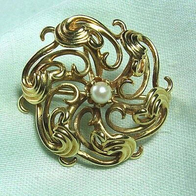 "Test 14K Gold Pin / Pendant w Real Pearl 4.0 grams 1"" diameter"