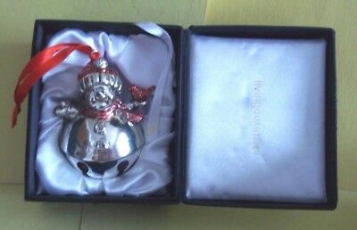 Silver Plated Snowman Bell Ornament w/Red Cap & Scarf & Cardinal on Hand - w/Box