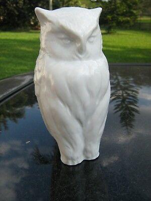 "Standing Owl Ceramic Figurine Vintage Item 6"" Tall All White Owl Nice One"