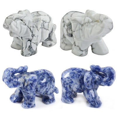 Hand Carved Marble Aventurine Jade Stone Craving Lucky Elephant Feng Shui Statue