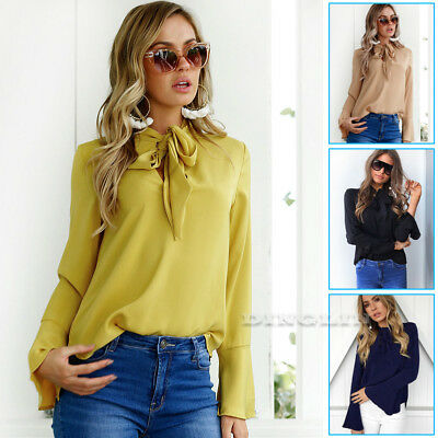 Fashion Women Ladies Pussy-bow Blouse Casual Shirt Top Flare Sleeve OL T-shirt