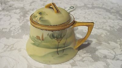 """Vintage hand painted Nippon condiment jar with spoon, yellow, 2"""" tall"""