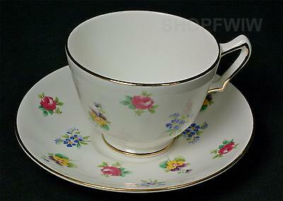 Antique Vintage Crown Staffordshire Floral Tea Cup And Saucer Circa 1920's