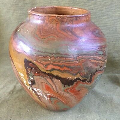 "Large NEMADJI VASE POTTERY USA  Scarce MARK ""Contains Badlands Clay"" SWIRL GLAZE"