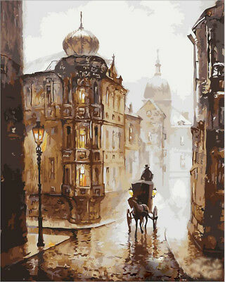 """Retro Carriage Dusk  DIY Paint By Number Kit Oil Painting Paint On Canvas 16X20"""""""