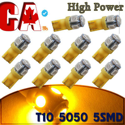 10 Pairs T10 168 Wedge 5 LEDs Yellow Interior Dom Map Trunk Cargo Light Bulbs