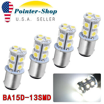 4x 6000K White BA15D 13 SMD Cabin Marine Boat LED Interior Light Bulbs 1076 1142