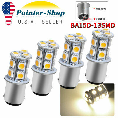 4x Warm White BA15D 13SMD 5050 Car Marine Boat LED Interior Light Bulbs 1142 12V