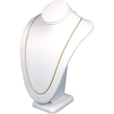 """White Faux Leather Necklace Pendant Bust Jewelry Display 7 1/2"""""""