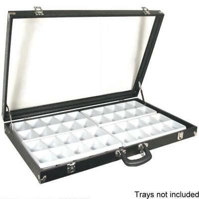 """Black Glass Top Travel Jewelry Display Carrying Case 31 3/4"""" x 18 1/2"""""""
