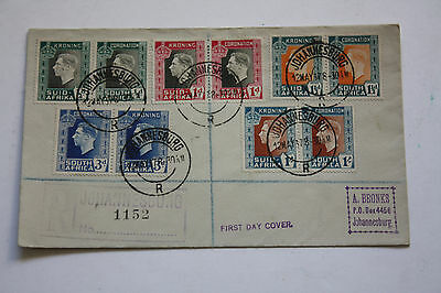 South Africa Johannesburg 12 May 1937 - First day Cover - 5 Pairs