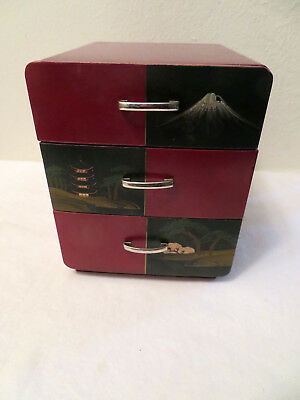 Vintage Antique Japanese Red Lacquer Wood Three 3 Drawer Chest Box Drawer