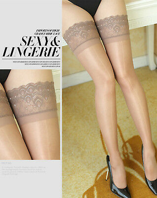 Women Sexy Glossy Thigh High Lace Top Sheer Stockings Stay On Pantyhose Tights
