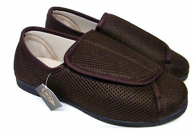 Mens Brown Dunlop Orthopaedic Diabetic Wide Fit Comfort Slippers Shoes Size 6