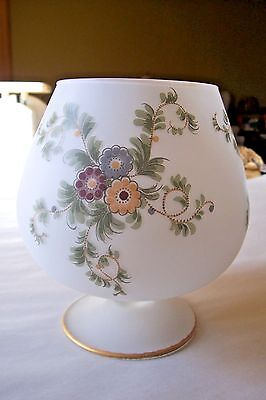 Antique White Satin Glass Hand painted Flower Rose Bowl style Vase