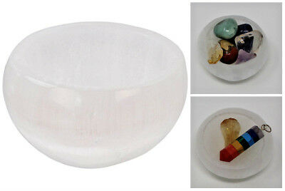 Small White Selenite Offering Bowl (Cleans, Charge Gemstone, Holds Salt, Herbs)