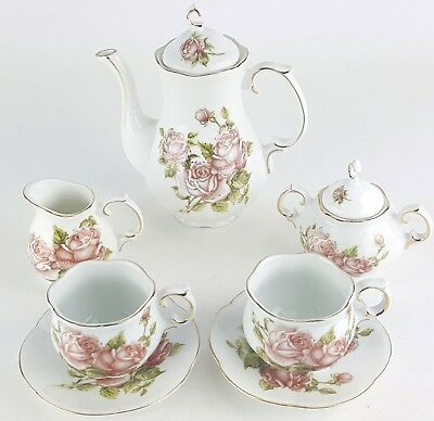 Petite Dainty Roses Flower Porcelain Tea Set Teapot Sugar Bowl Creamer 2 Teacups