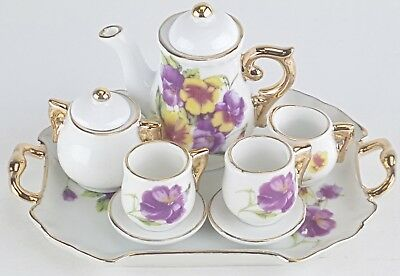 Small Collectible Pansies Porcelain Tea Set Teapot Sugar Bowl Creamer 2 Teacups
