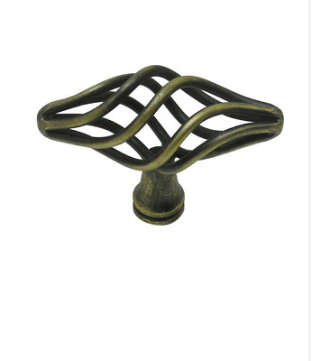 2 - Lowes Style Selections Antique Brass Oval Cabinet Knob Pull Handle G#56668