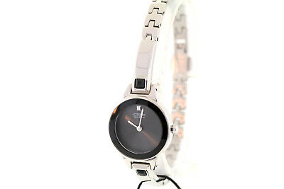 Ladies Citizen EX1320-54E Eco-Drive Silhouette Stainless Black Dial Bangle Watch
