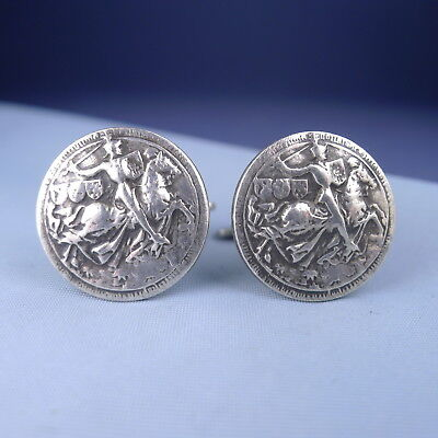 Vintage Sterling Silver Medieval Knights Cufflinks / Horses