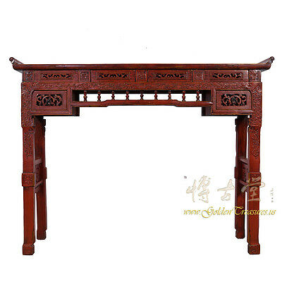 Chinese Antique Carved Red Lacquered Altar Table/Console Table 17LP39