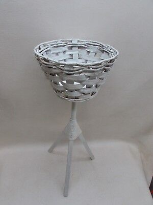 "Vintage Woven Wicker Basket Plant Stand 3 Legged White Painted 27.5"" Cottage"