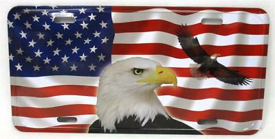 American Flag Bald Eagle Vanity Auto Car Truck Metal Novelty Tag License Plate
