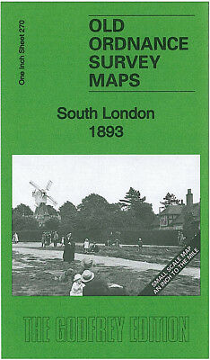 Old Ordnance Survey Map South London 1893 Chelsea Dulwich Putney Kew Wimbledon
