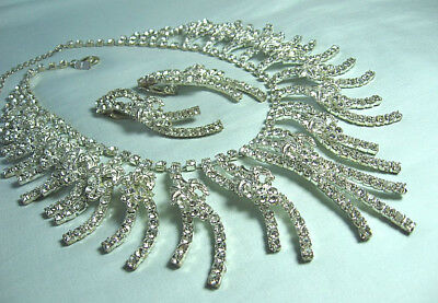 """Dramatic Rhinestone Necklace & Earrings   Necklace: 19"""" long w 3"""" center pendant"""