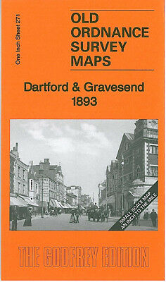 Old Ordnance Survey Map Dartford Gravesend 1893 Bexley Bromley Tilbury Welling