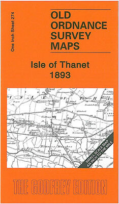 Old Ordnance Survey Map Isle Of Thanet 1893 Broadstairs Margate Ramsgate Minster