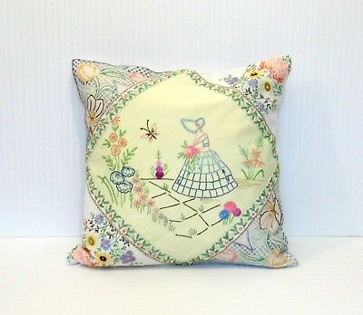 Vintage Shabby Cottage Chic Yellow Embroidered Southern Belle Pillow Cover 18x18