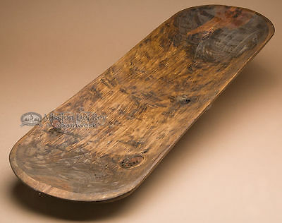 """Rustic Tarahumara Indian Stained Wooden Bowl 28-30"""" (b61)"""