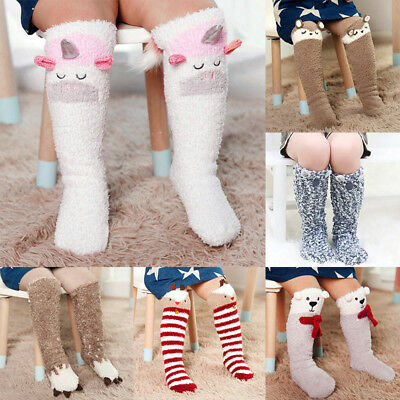 Baby Boy Girls Unicorn Socks Knee High Stockings Cartoon Striped Long Leg Warmer