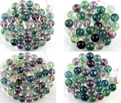 4MM 6MM 8MM 10MM 12MM 14MM Natural Multi-colour Fluorite Round Gemstone Beads 15