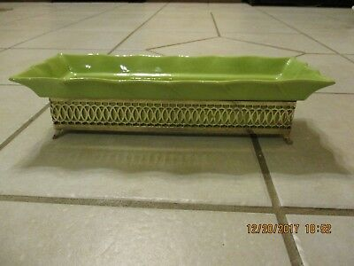 Vintage Pottery Planter Filigree Holder Lime Green Rectangular Footed Art Deco