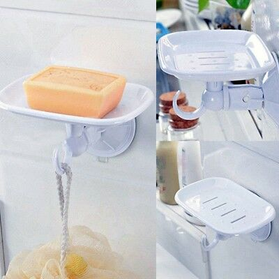 Durable Suction Cup Plastic Wall Soap Dish Basket Holder Tray Bathroom Shower