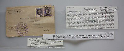 A.P.O. adress to U.S. with two 2 Cent Stamps - Cancel and Censor - 1st.Lieut.USA
