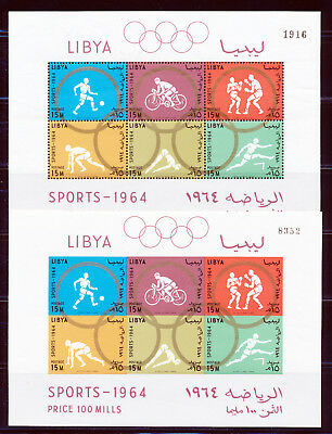 Libya 1964 Tokyo Olympics S/s (2) Noted In Scotts Perfed & Imperf