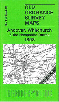 Old Ordnance Survey Map Andover Whitchurch Hampshire Downs 1898 Fyfield Weyhill